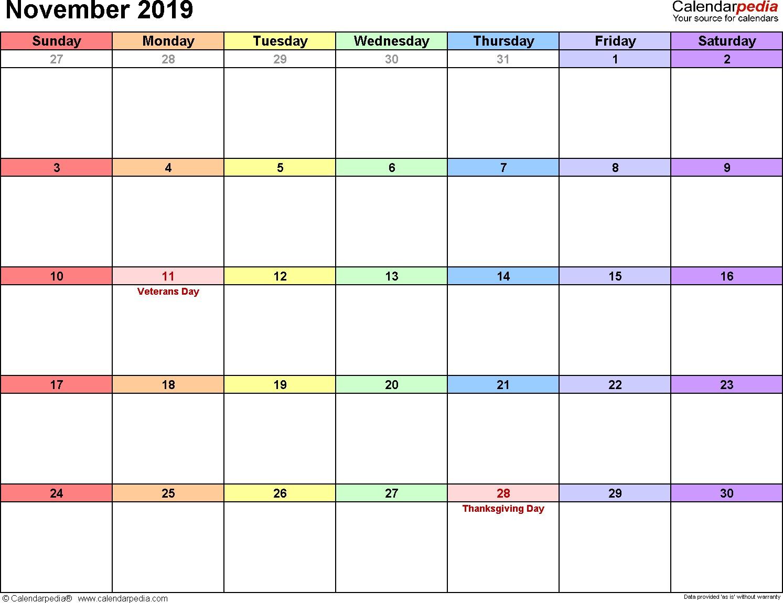November 2019 Calendars for Word Excel & PDF