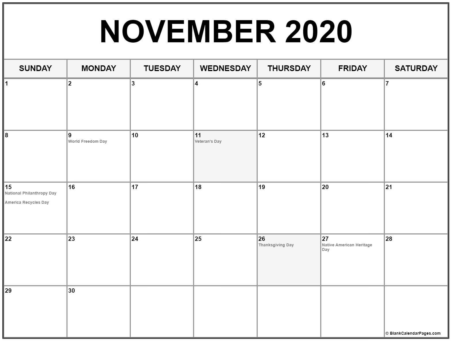 November 2020 Calendar Printable with Holidays November 2020 Calendar with Holidays