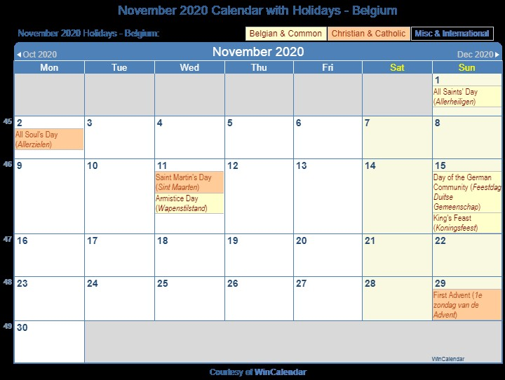 Print Friendly November 2020 Belgium Calendar for printing