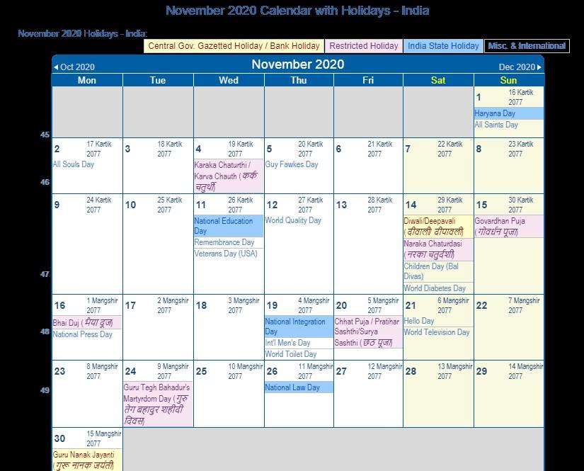 November 2020 Calendar Printable with Holidays Print Friendly November 2020 India Calendar for Printing