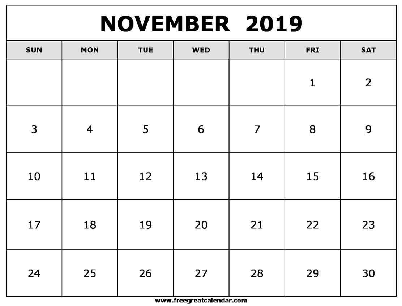 November Calendar 2019 Printable Blank November 2019 Calendar Printable