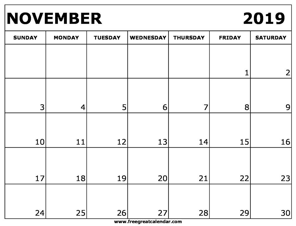 November Printable Calendar 2019 Blank November 2019 Calendar Printable
