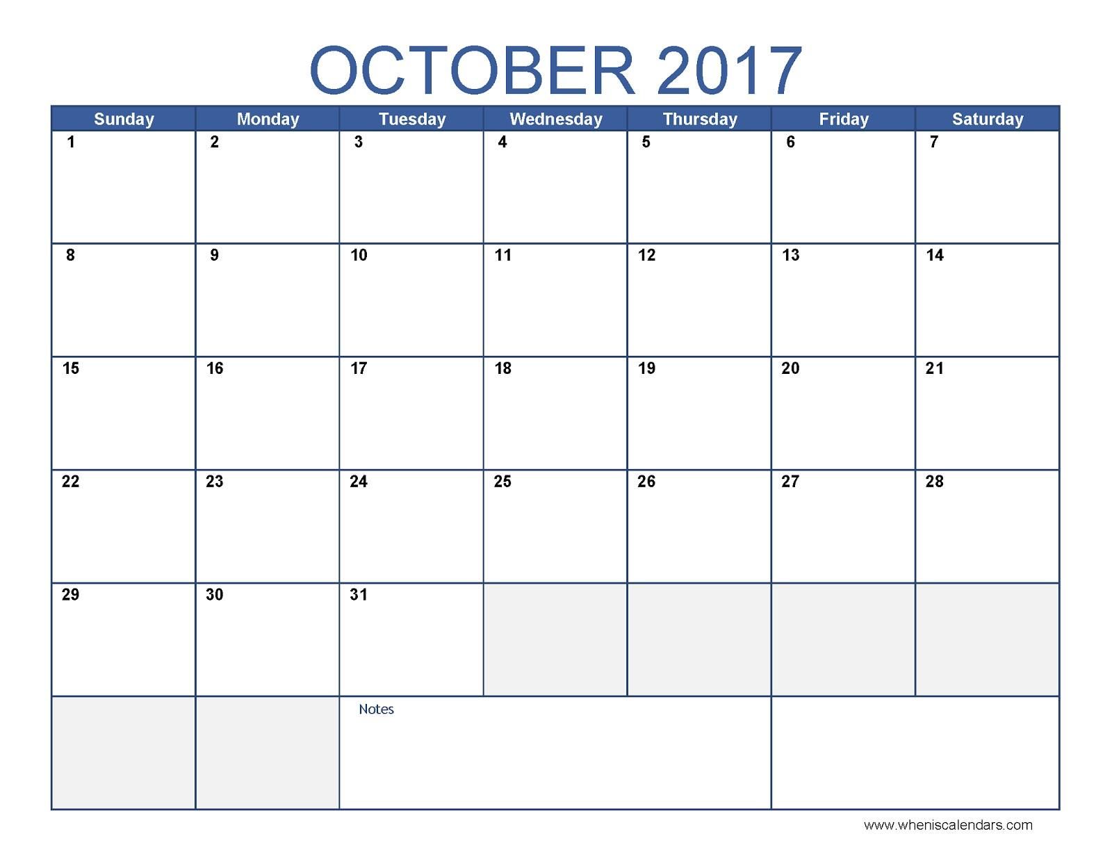 October Calendar Printable Printable Calendar 2018 October 2018 Calendar Blank
