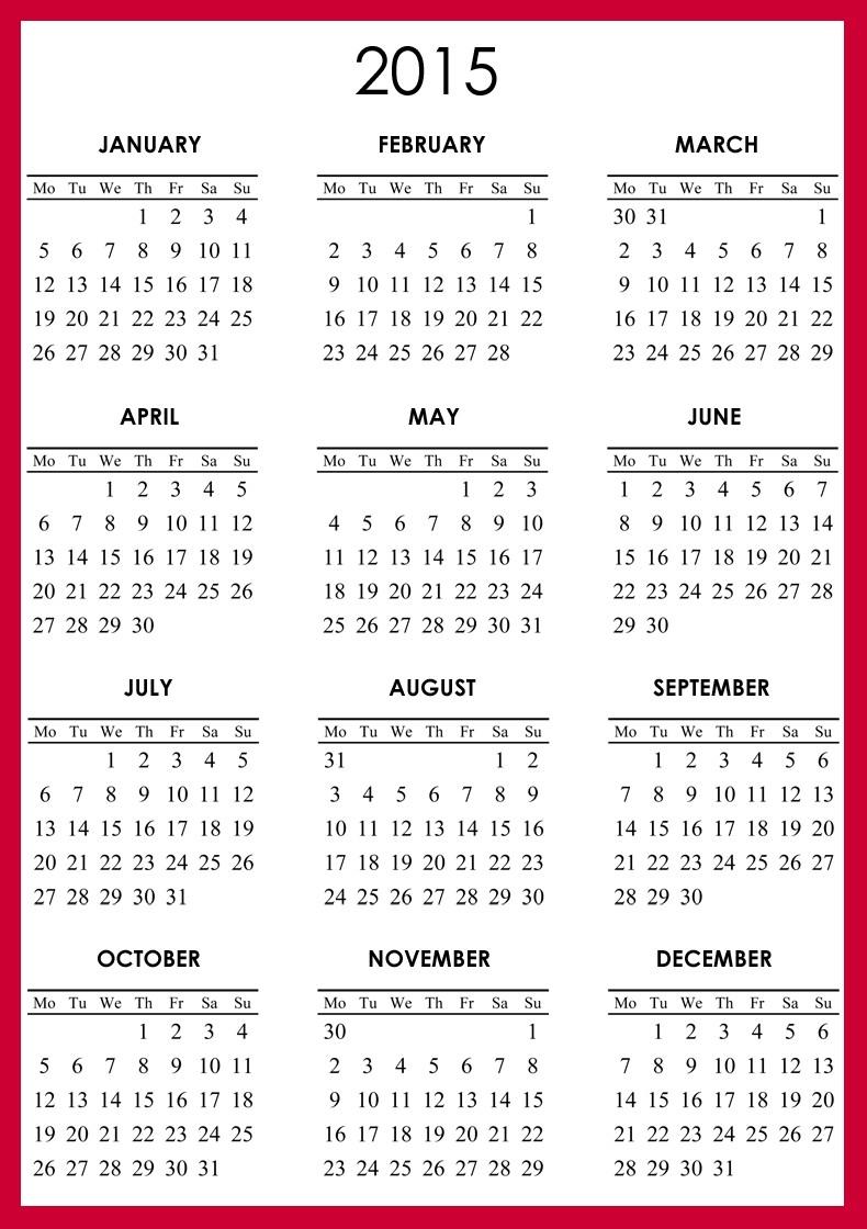 2015 Printable Calendar 1 Page