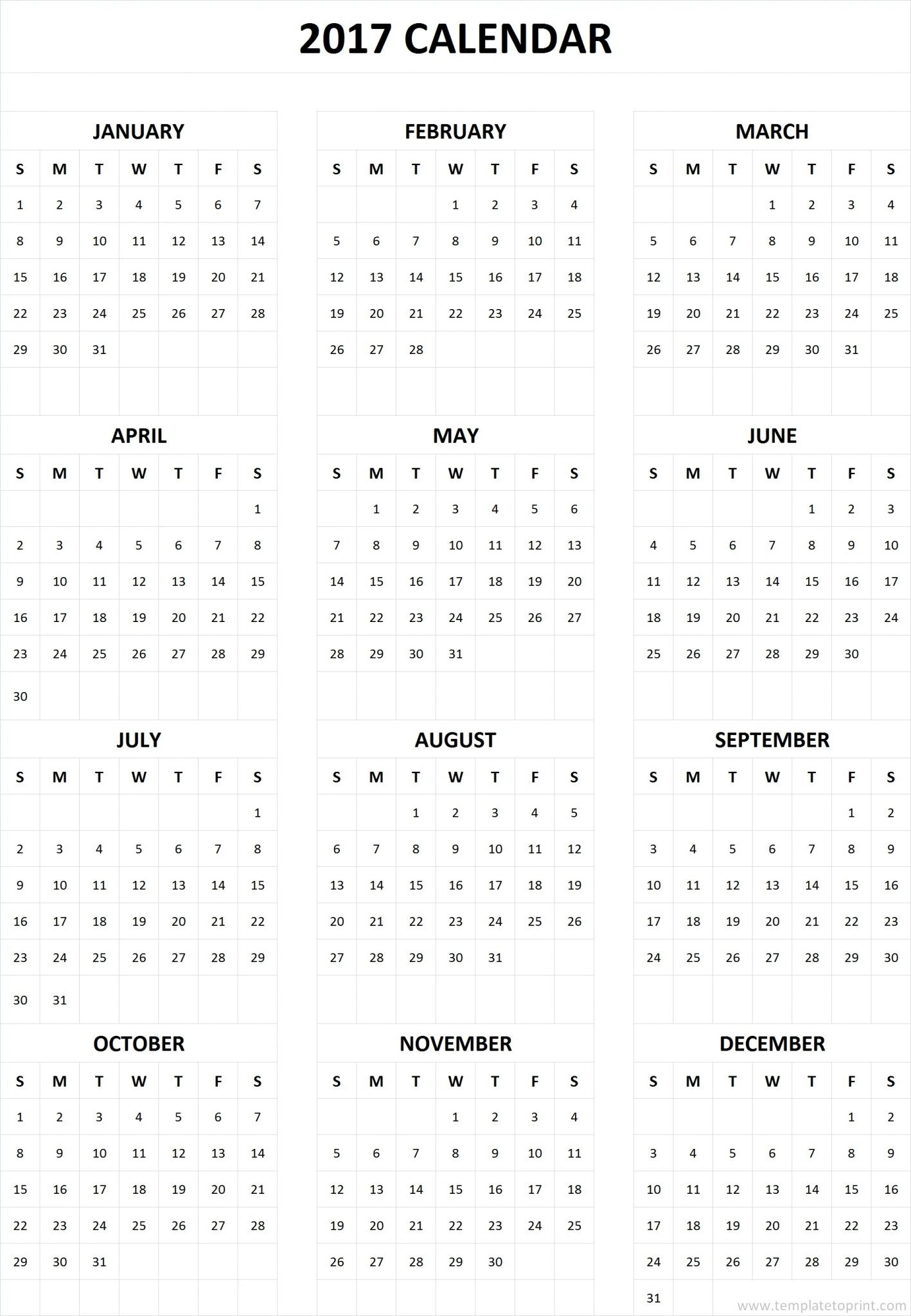 One Page Printable Calendar