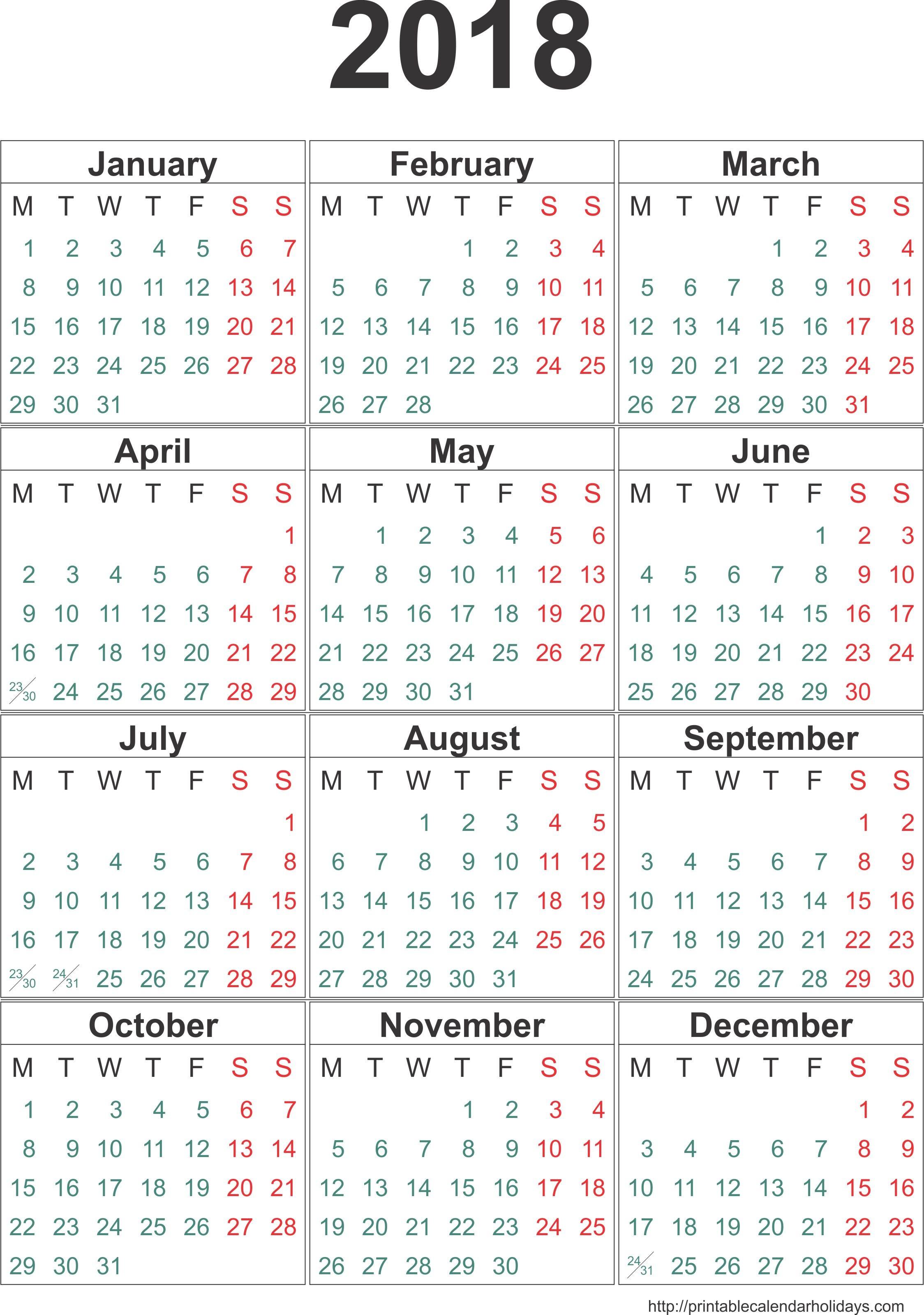 One Page Printable Calendar 2018 Calendar E Page