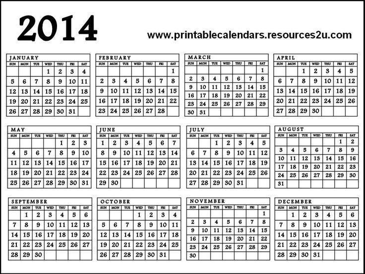 One Page Printable Calendar Calendar 2014 Printable E Page