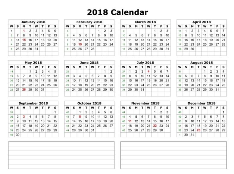 Calendar 2018 Printable e Page