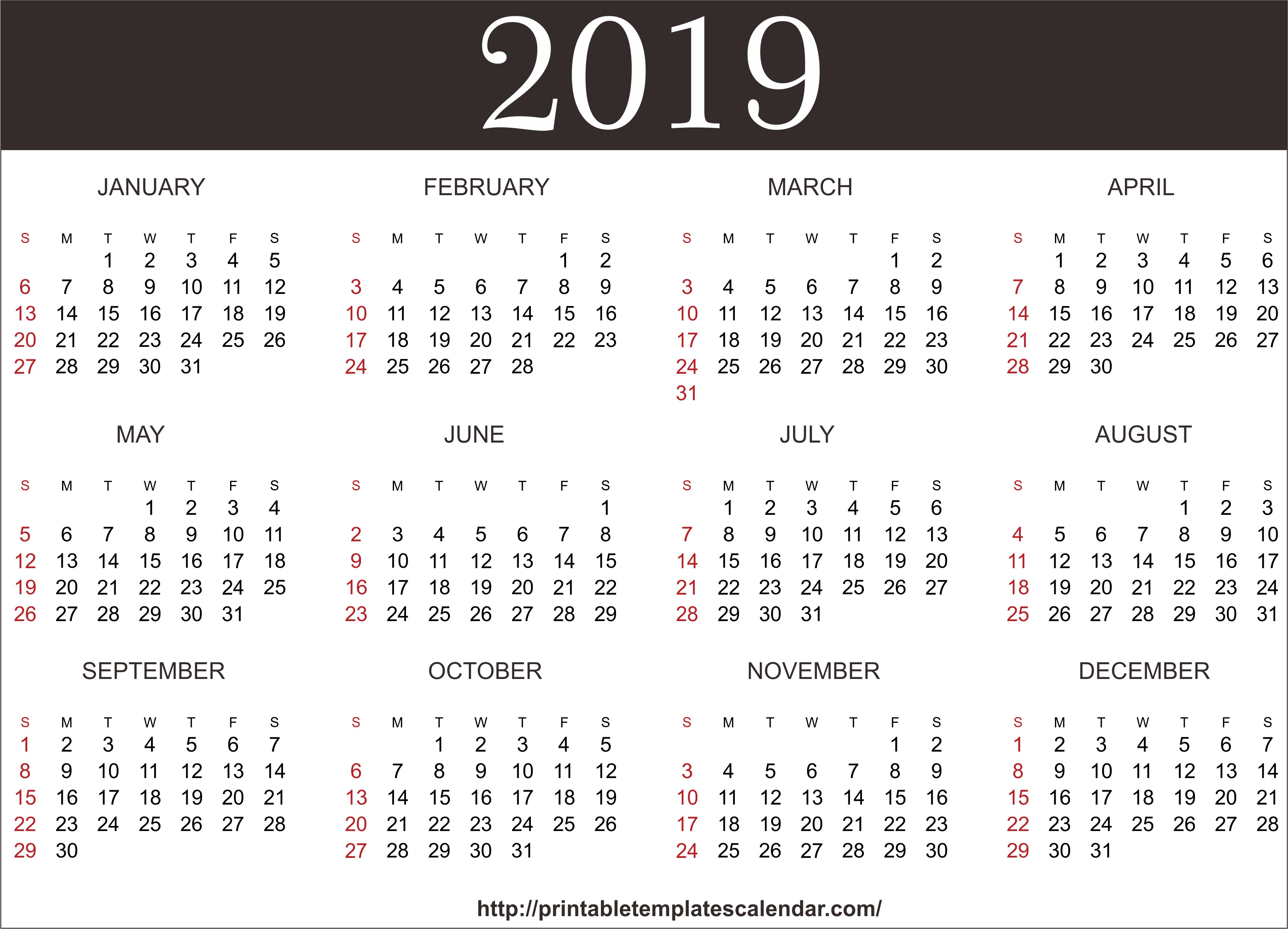 Free 2019 e Page Printable Calendar Templates
