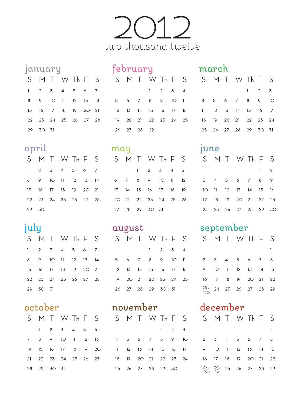 2012 Printable Calendar e Page