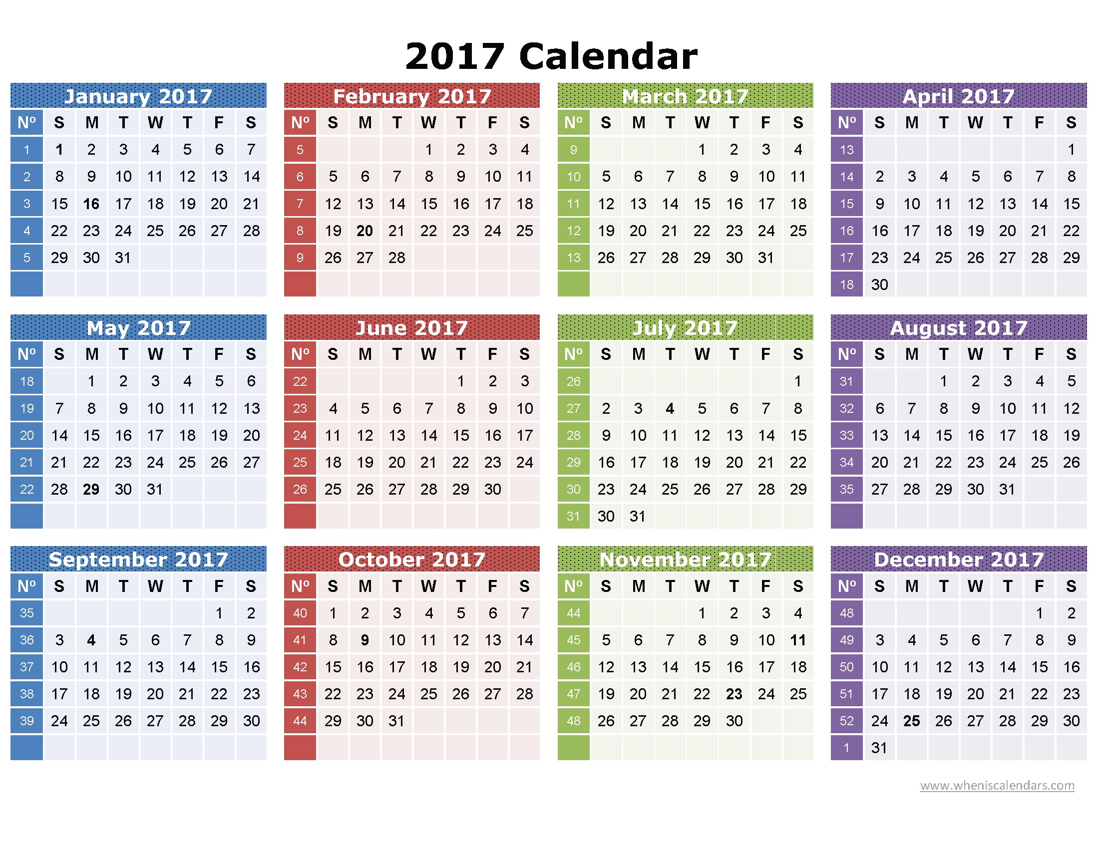 2017 Calendar Printable e Page