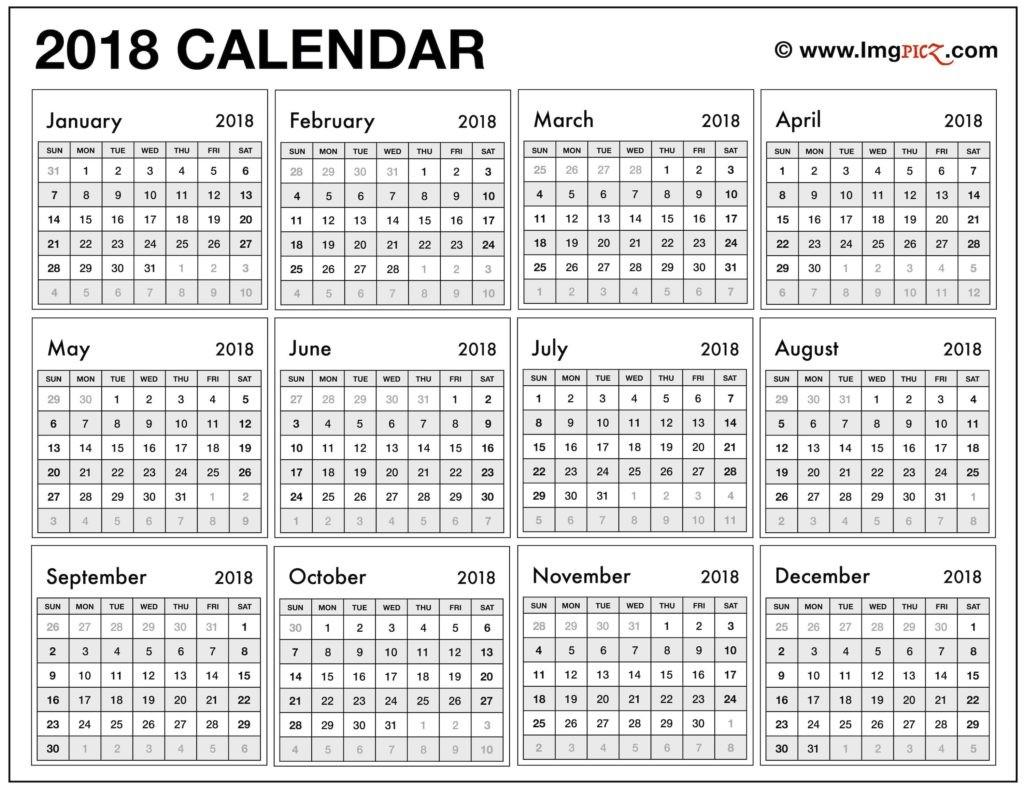 One Year Calendar Printable 2018 Calendar E Page – Month Printable Calendar