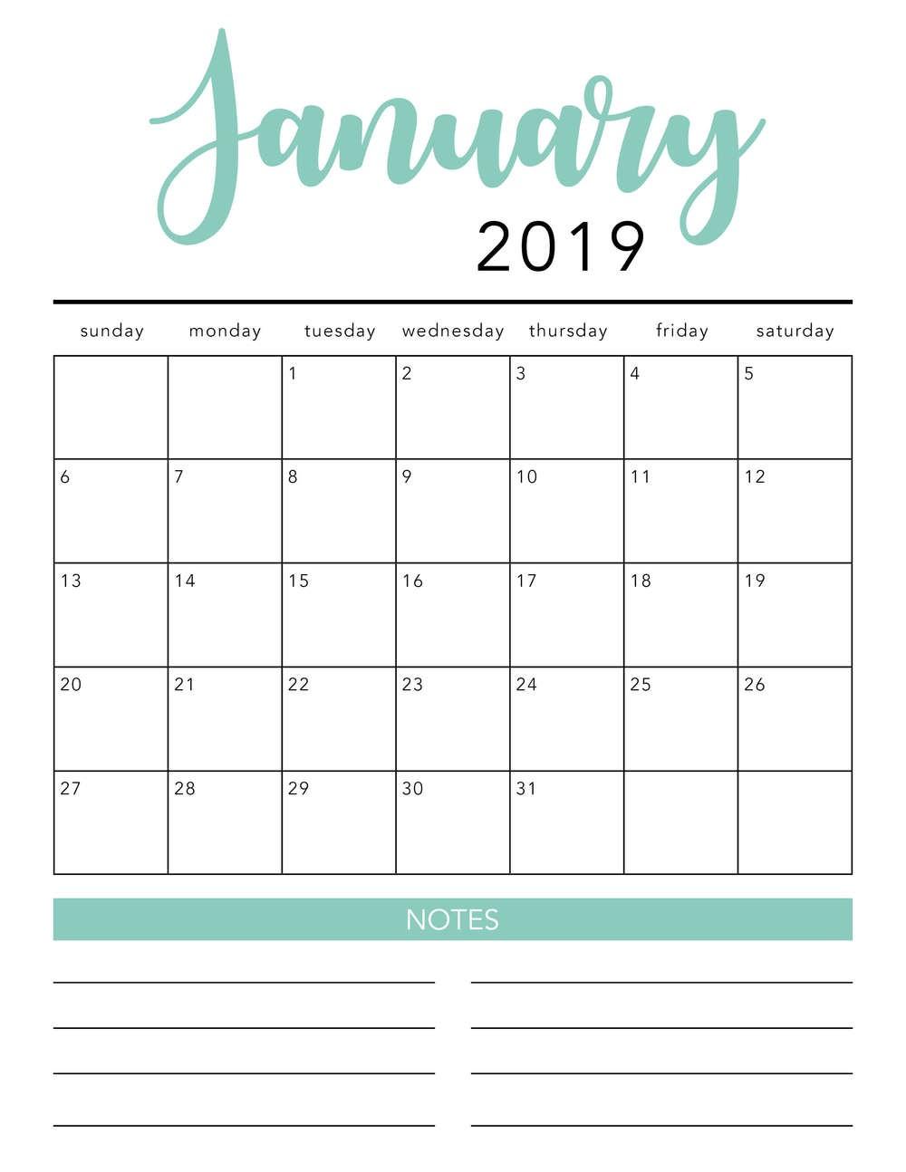 Online Printable Calendar Free Free 2019 Printable Calendar Template 2 Colors I