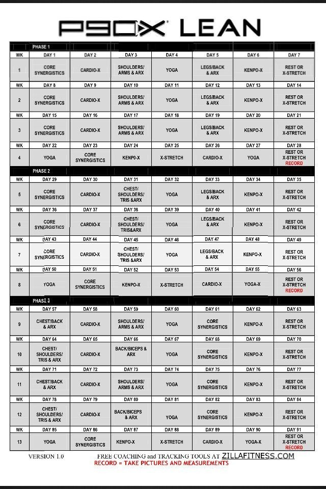 P90X Lean Workout Schedule Calendar