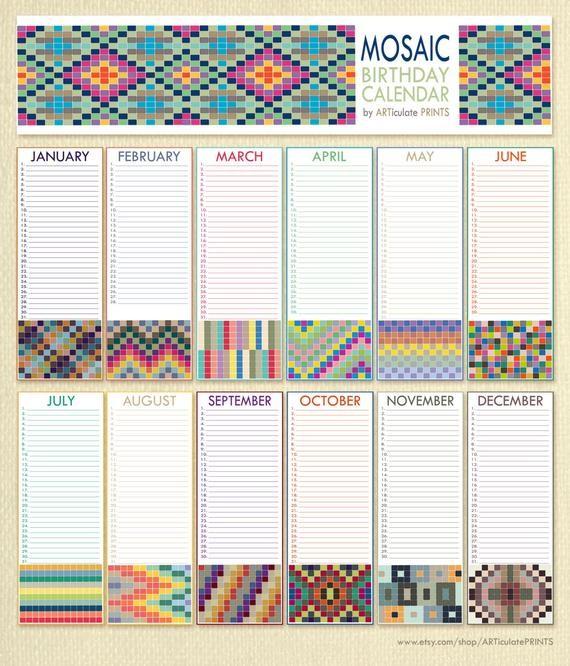 Perpetual Birthday Calendar Printable Birthday Calendar Perpetual Calendar Printable Mosaic