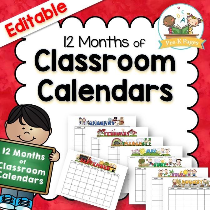 Pre K Calendar Printables Classroom Calendars Pre K Pages