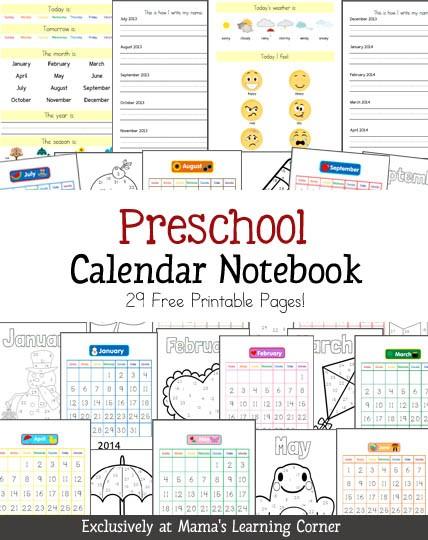 Preschool Calendar Printables Preschool Calendar Notebook Mamas Learning Corner