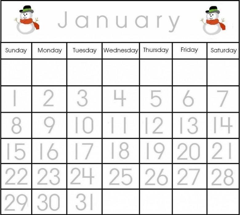 Preschool Calendar Numbers Template Free Calendar Template