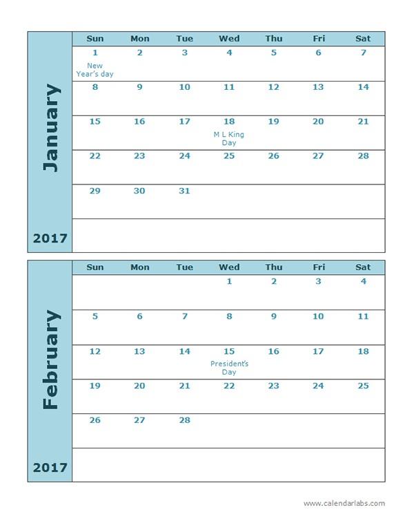 Free Printable Calendar 2 Months Per Page