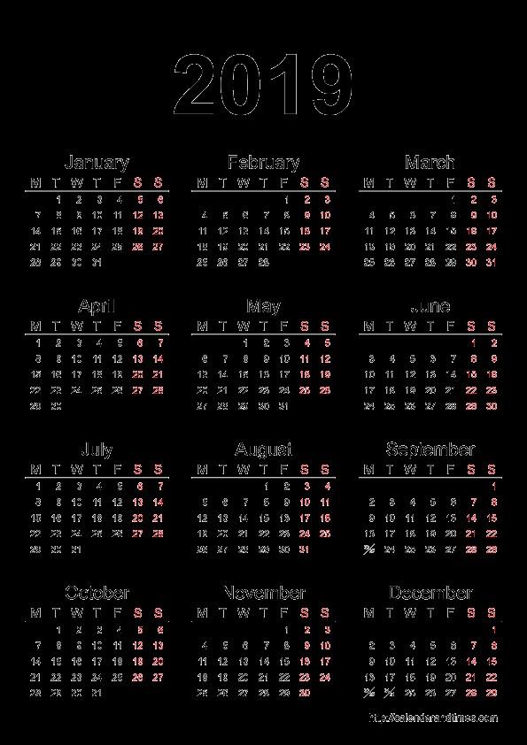 Printable 2019 and 2019 Calendar 2019 Calendar E Page – Month Printable Calendar