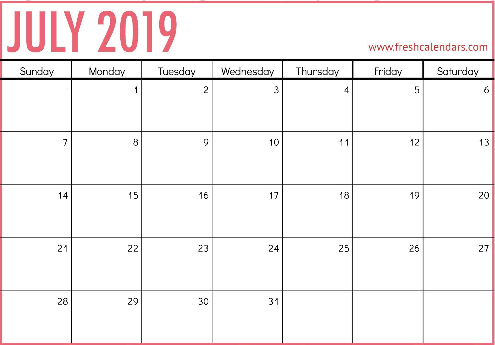 Printable July 2019 Calendar Fresh Calendars