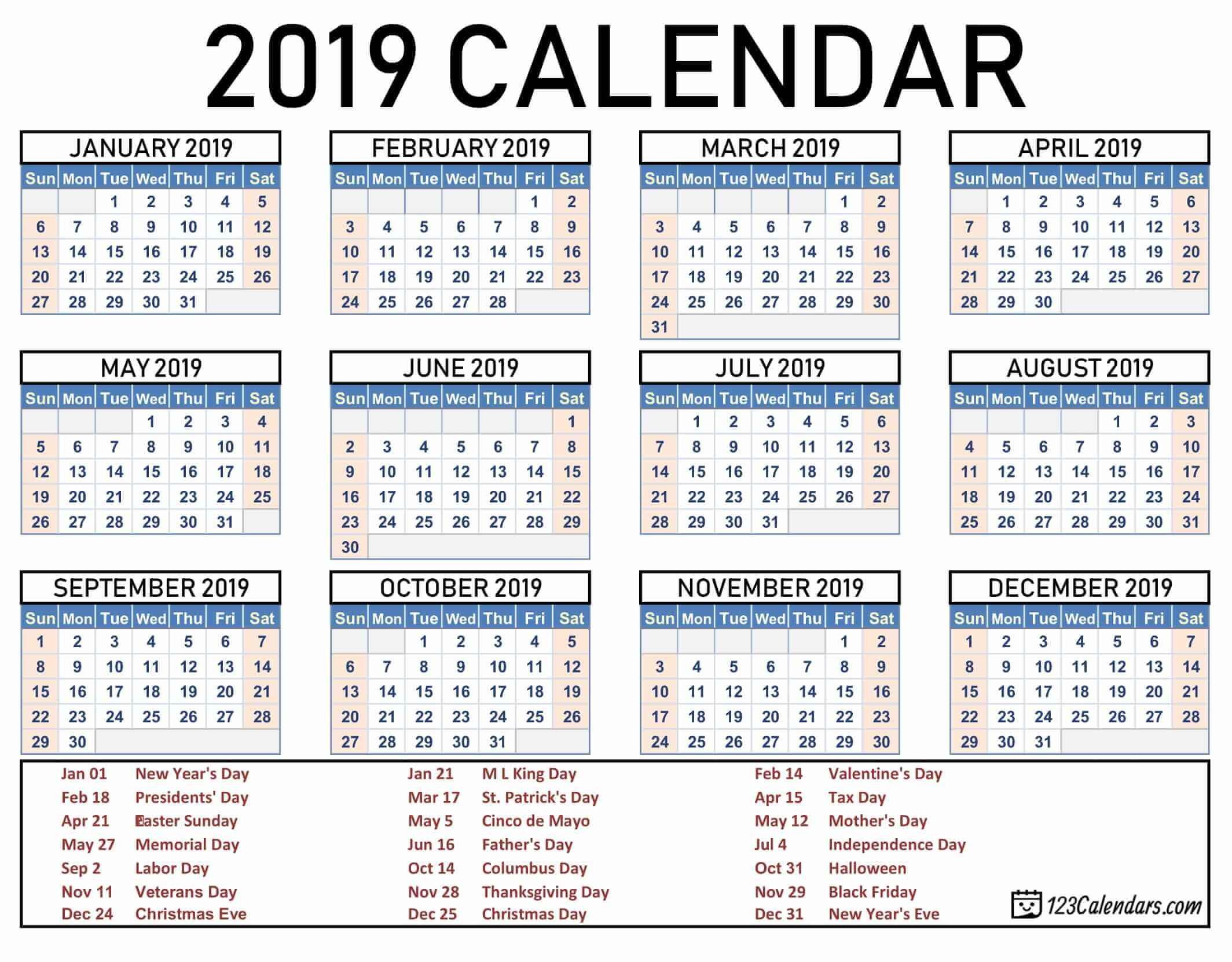 2019 Printable Calendar 123Calendars