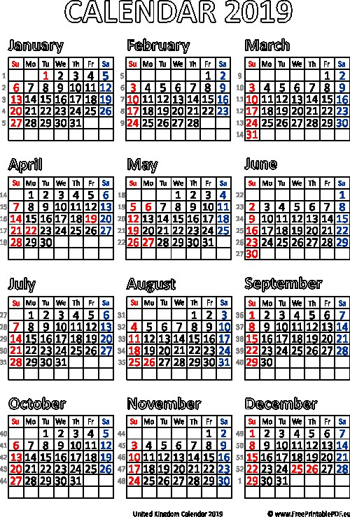 2019 Calendar Uk – month printable calendar