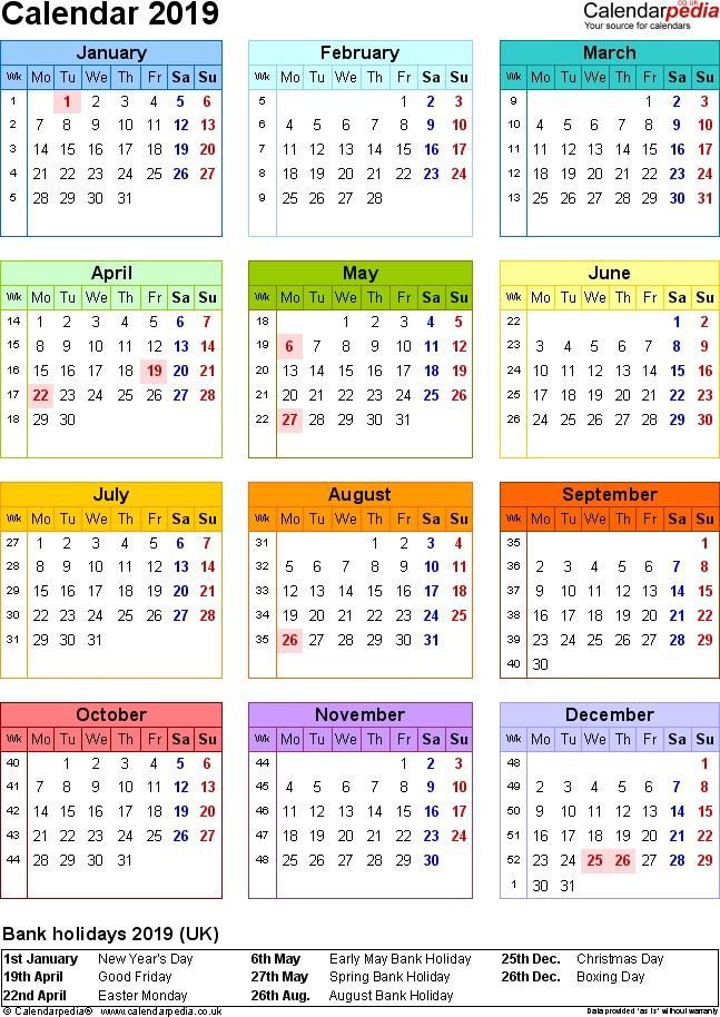 Excel Calendar 2019 UK 16 printable templates xlsx free