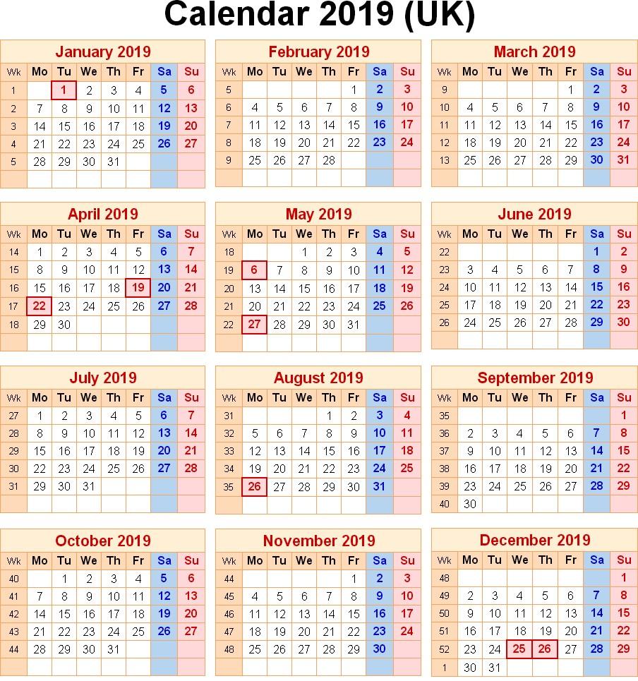 Get UK School Holidays 2019 Calendar