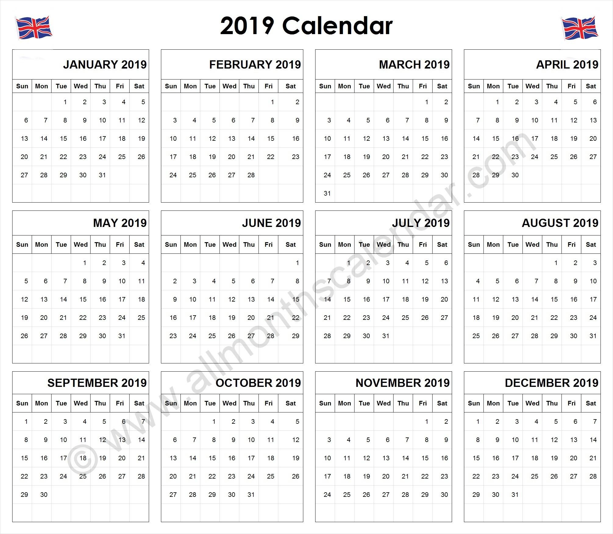 Yearly 2019 Calendar UK