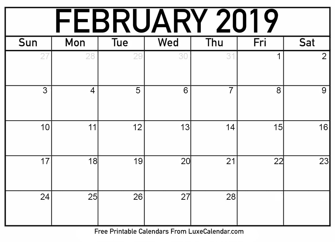 Blank February 2019 Printable Calendar Luxe Calendar