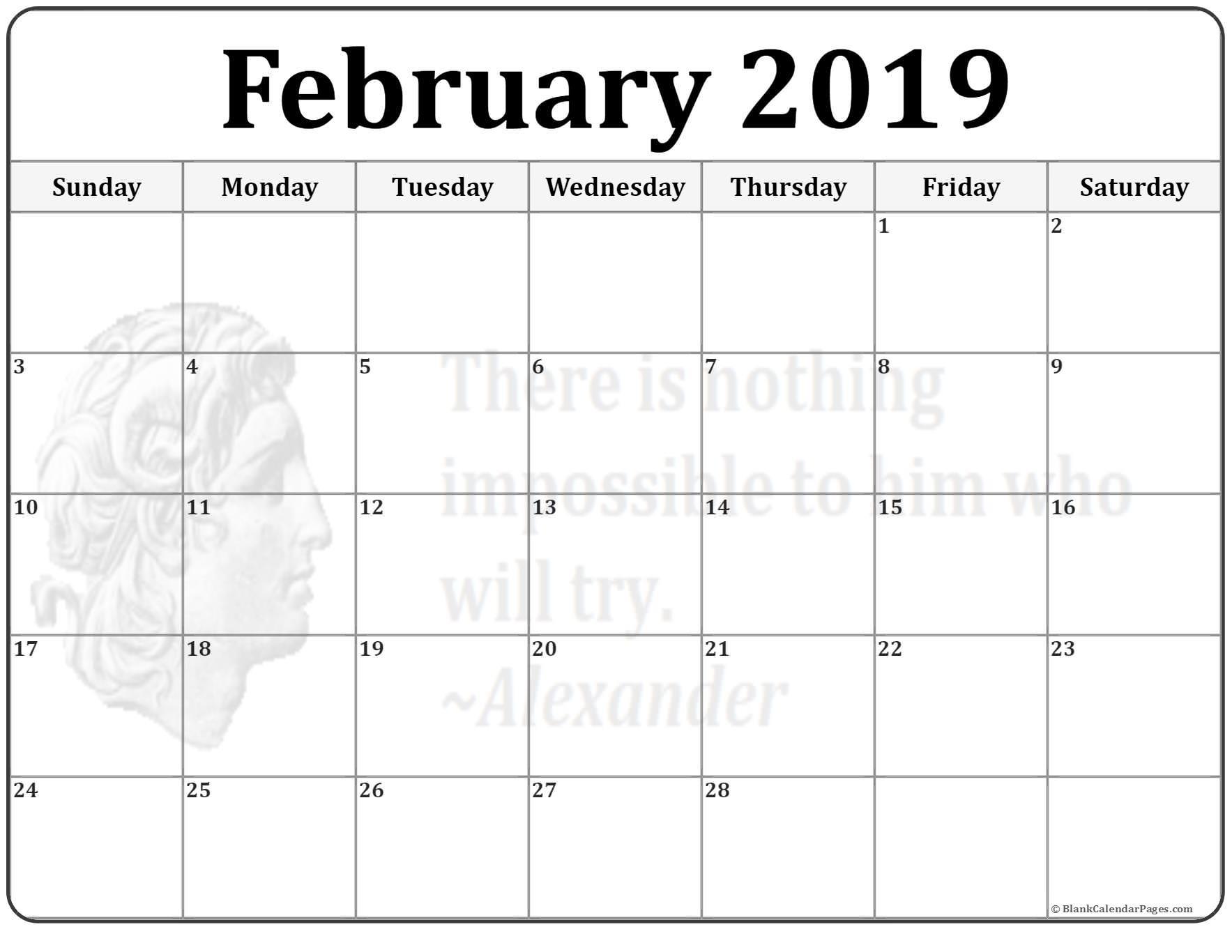 Printable 2019 February Calendar February 2019 Calendar