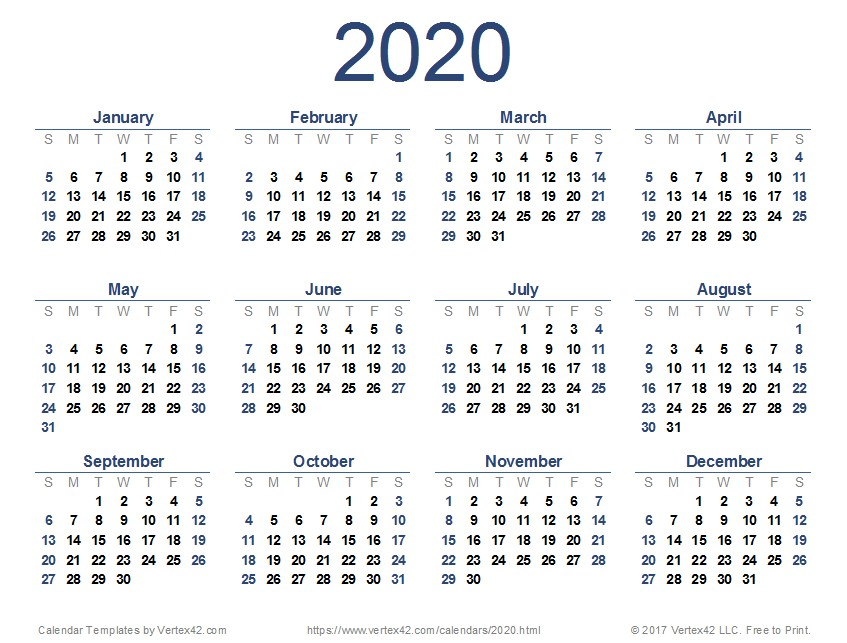 Printable 2020 and 2020 Calendar
