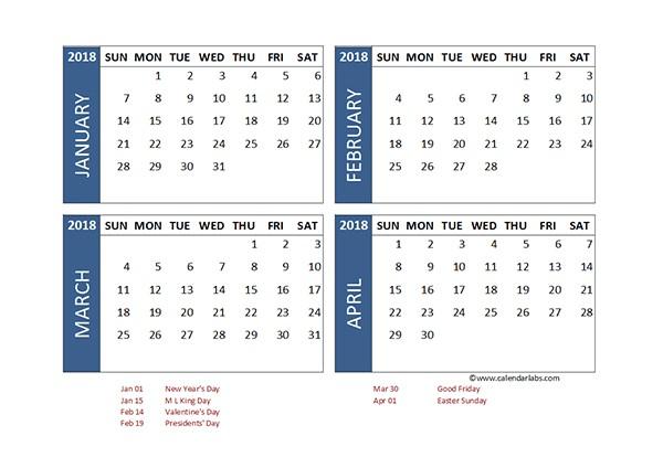 Printable 4 Month Calendar 2018 Excel 4 Month Calendar Template Free Printable