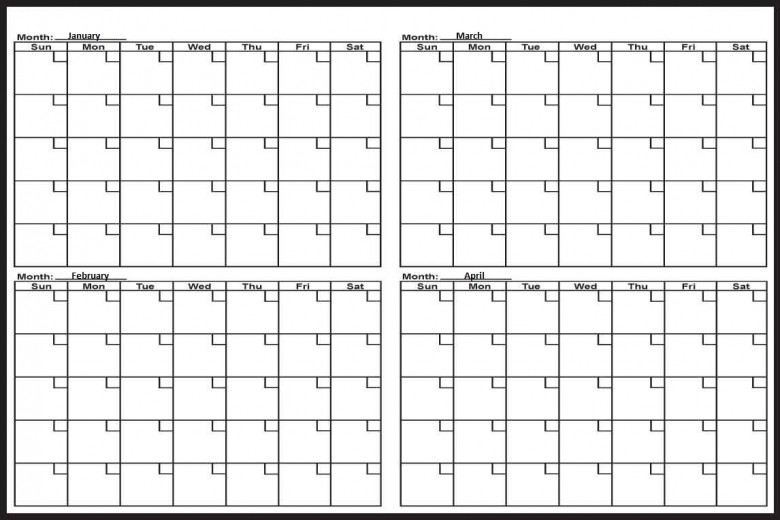 Printable 4 Month Calendar Free Calendar Template
