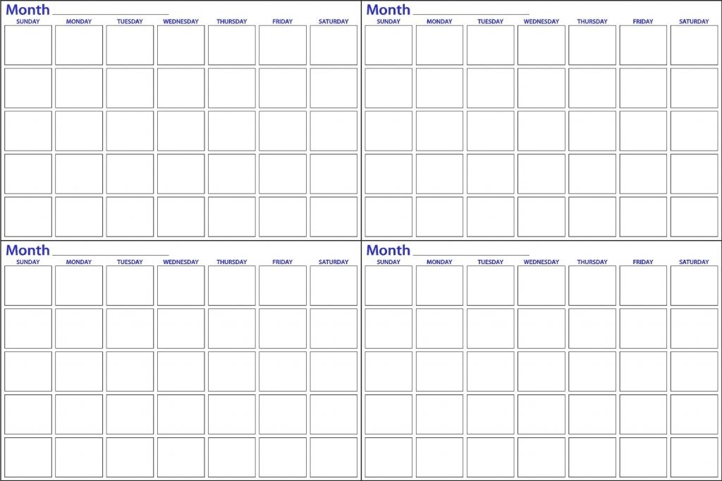 Printable 4 Month Calendar Printable 4 Month Calendar