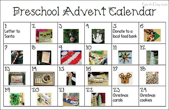 Printable Advent Calendar for Kids Printable Advent Calendar for Preschoolers