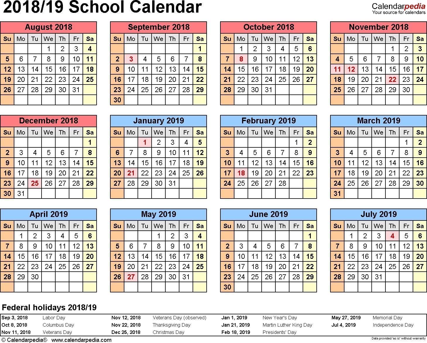 Best Printable School Calendar 2019 15