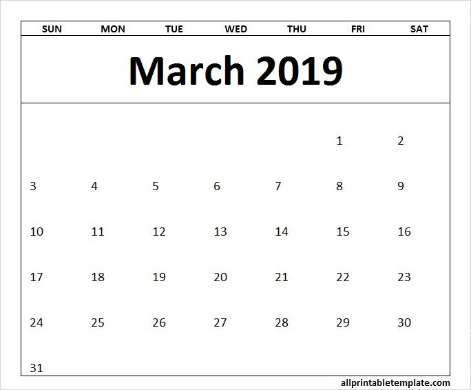 Printable Calendar 2019-15 Free Blank Calendar Template March 2019