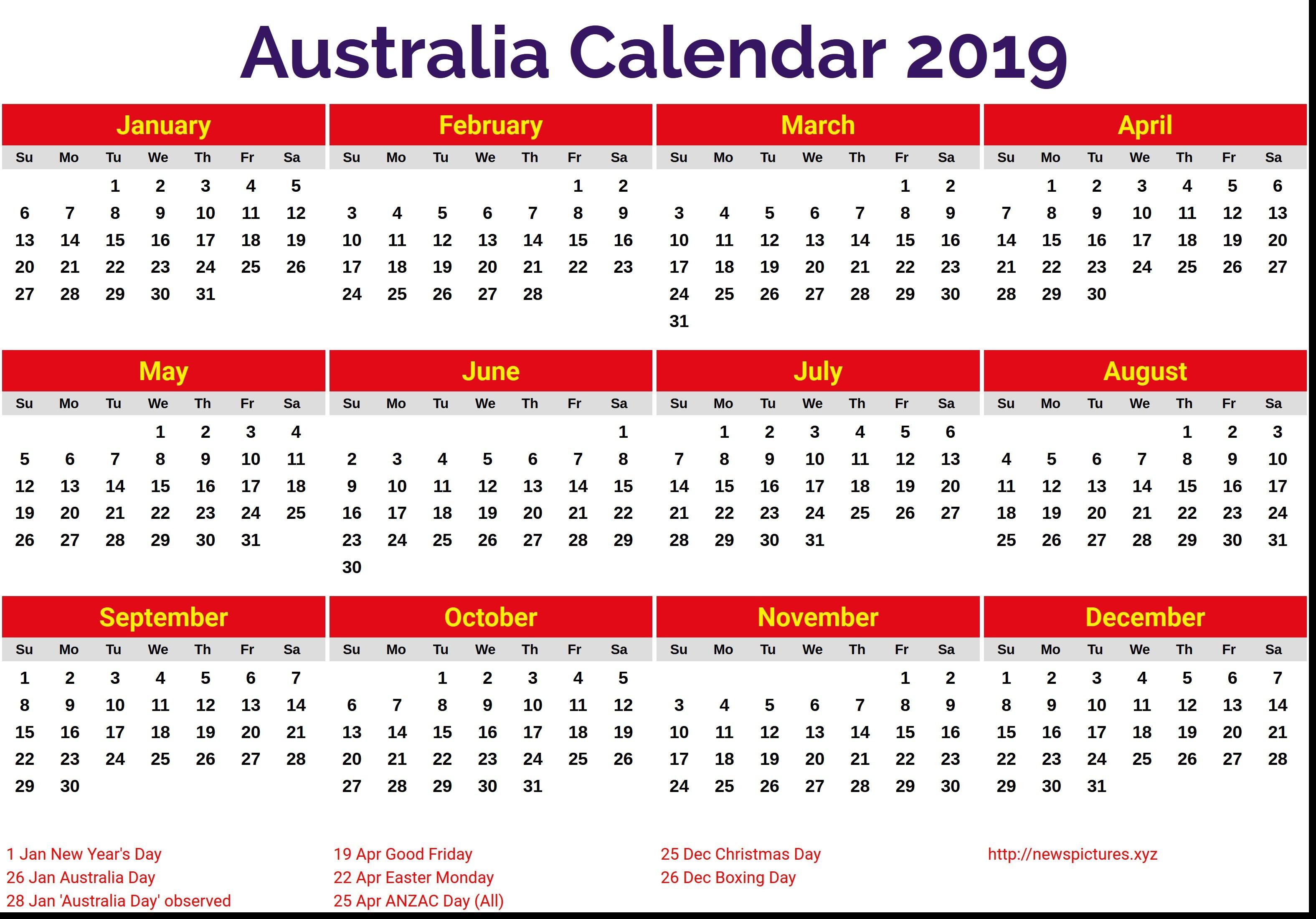2019 Printable Calendar Australia Australia 2019 Calendar