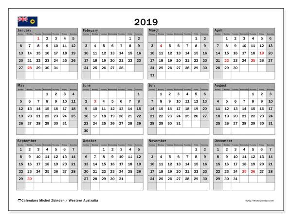 Printable Calendar 2019 Australia Calendar 2019 Western Australia Michel Zbinden En