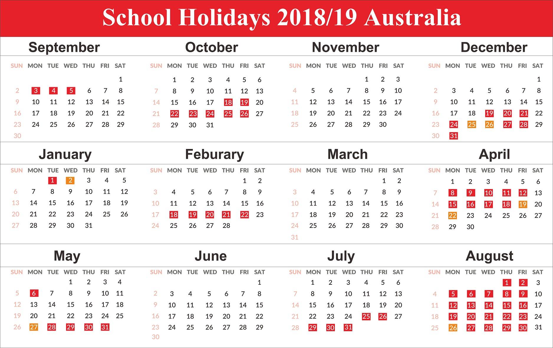 Printable Calendar 2019 Australia Free Australia School Holidays 2019 Calendar Templates