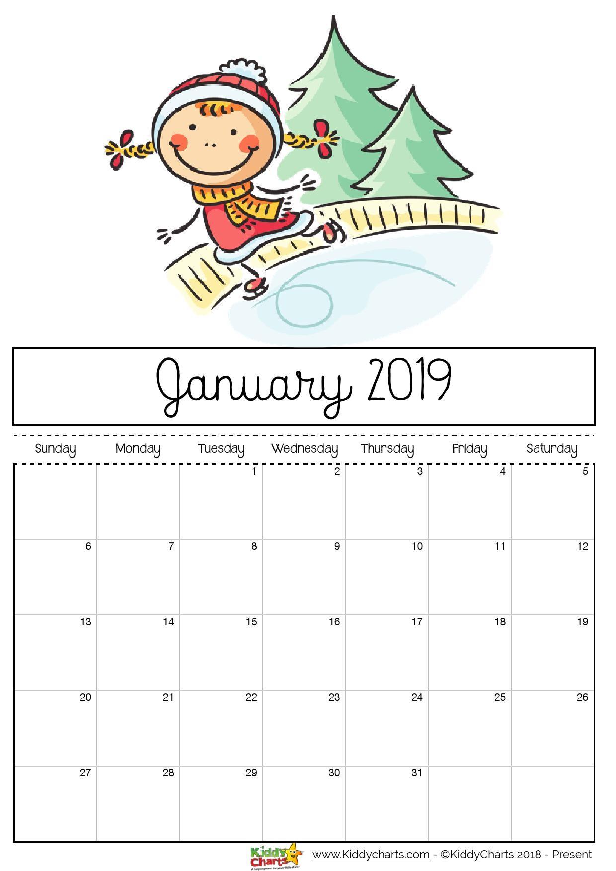Free printable 2019 calendar for kids