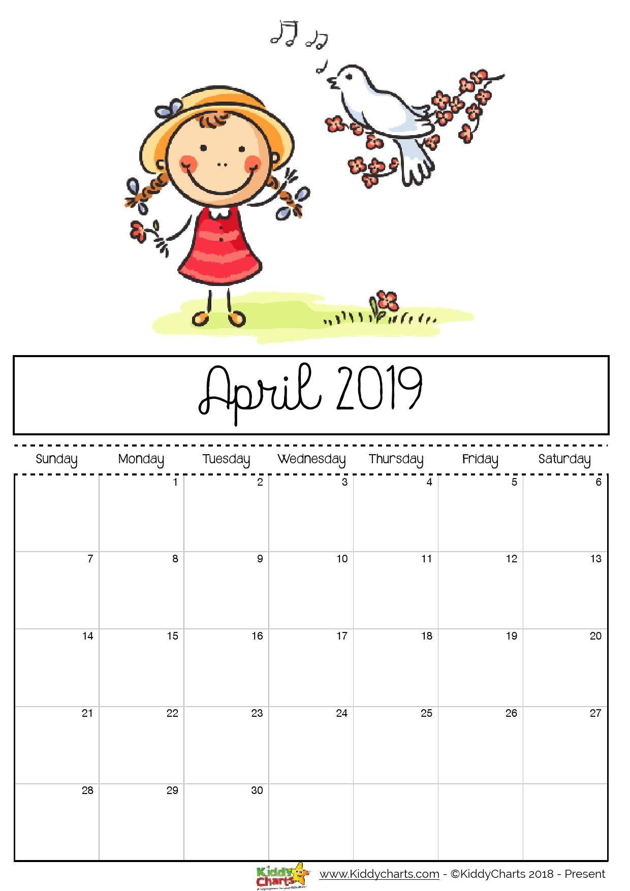 Printable Calendar 2019 for Kids