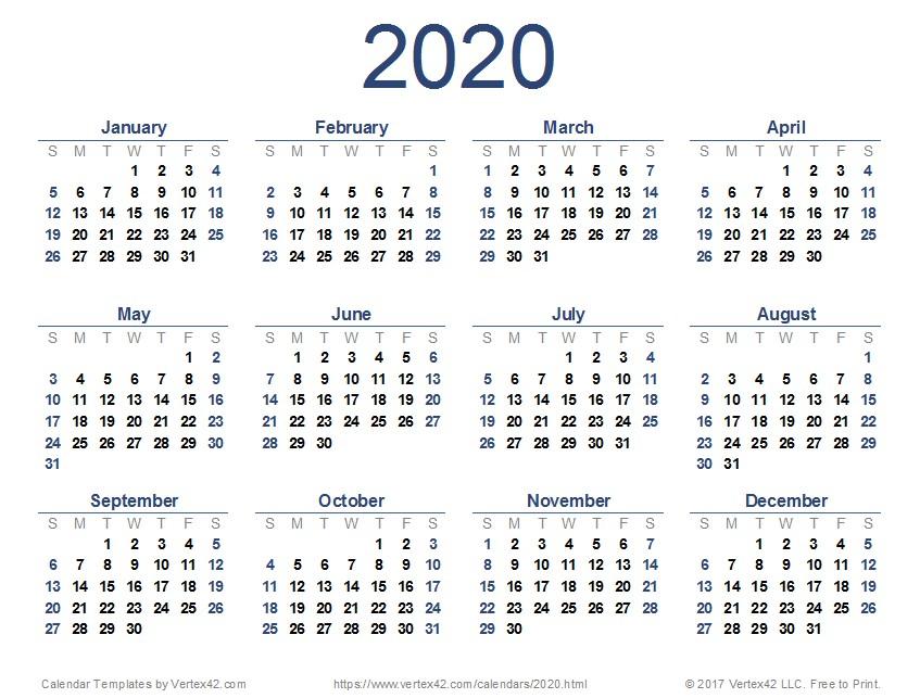 Printable Calendar 2020 and 2020