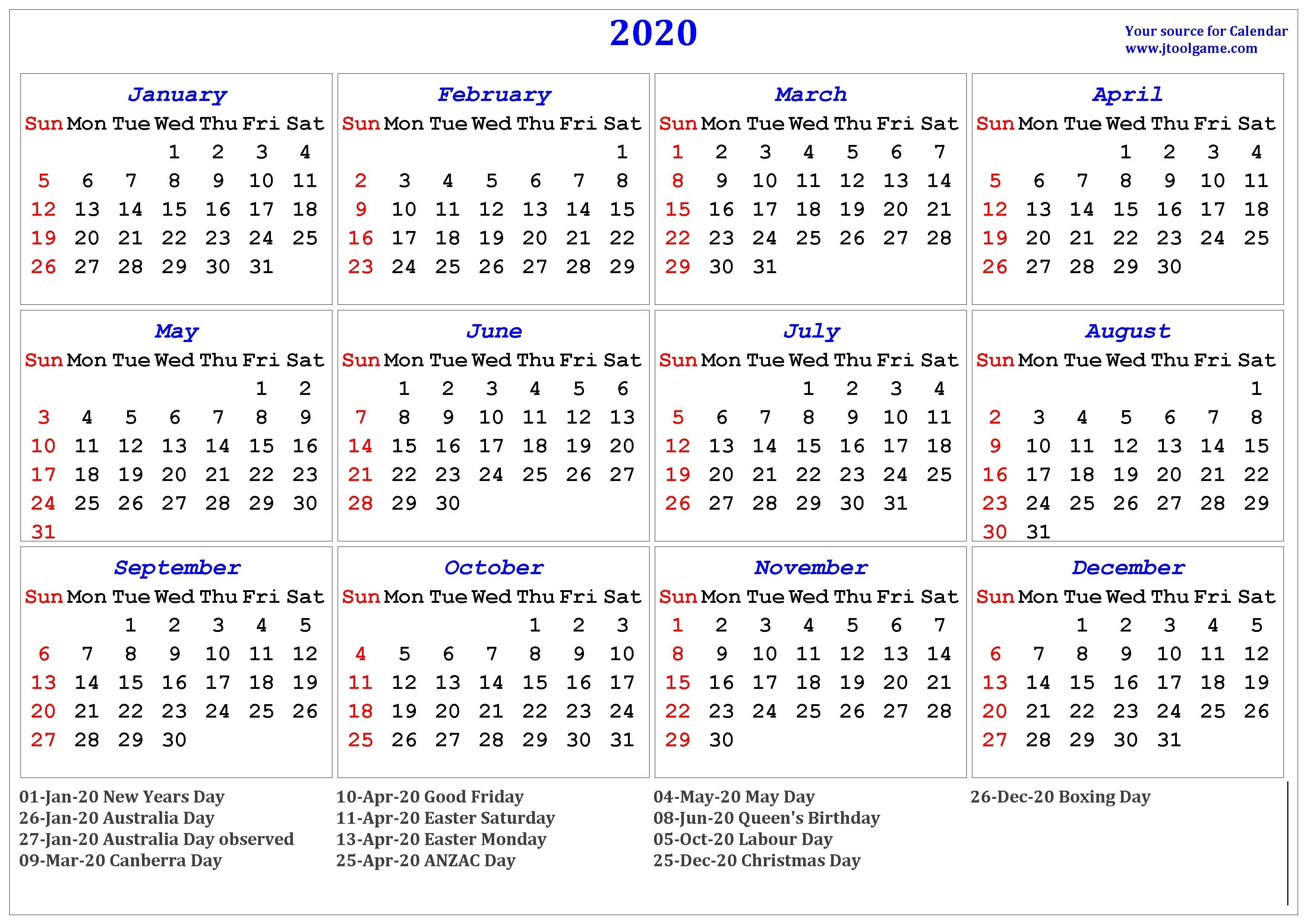 Printable Calendar 2020 Australia 2020 Calendar Printable Calendar 2020 Calendar In