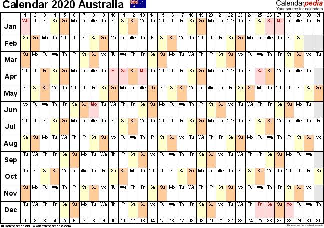 Printable Calendar 2020 Australia Australia Calendar 2020 Free Printable Pdf Templates