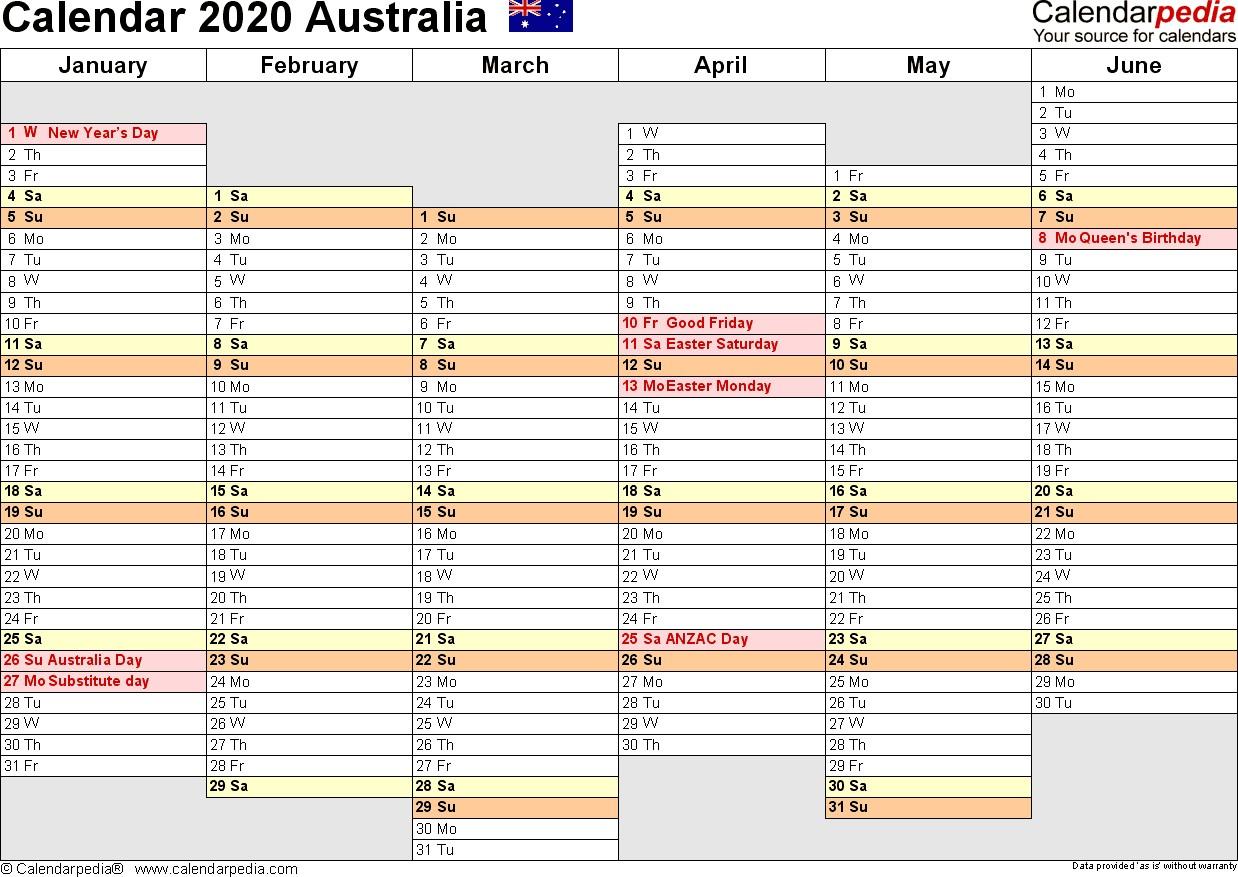 Printable Calendar 2020 Australia Australia Calendar 2020 Free Word Calendar Templates