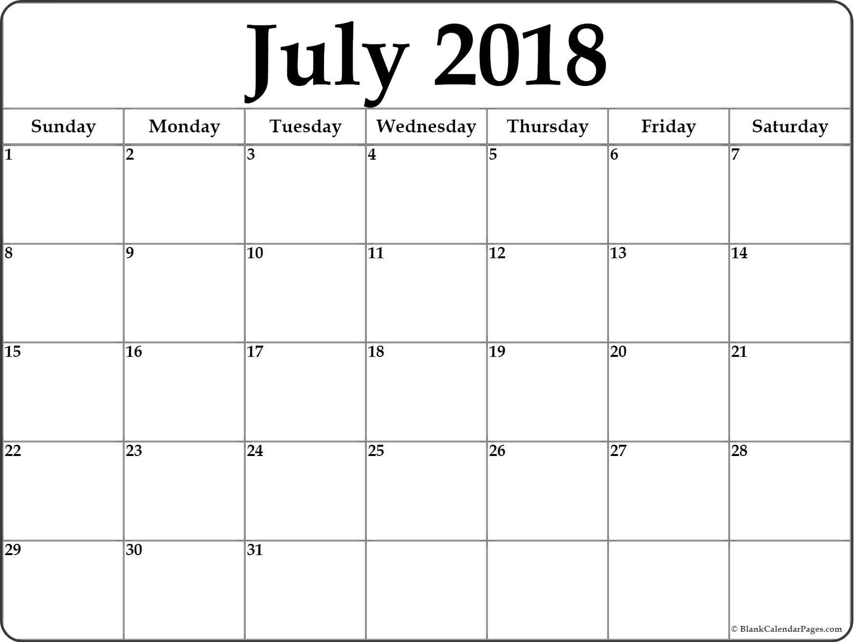 Printable Calendar Blank July 2018 Free Printable Blank Calendar Collection