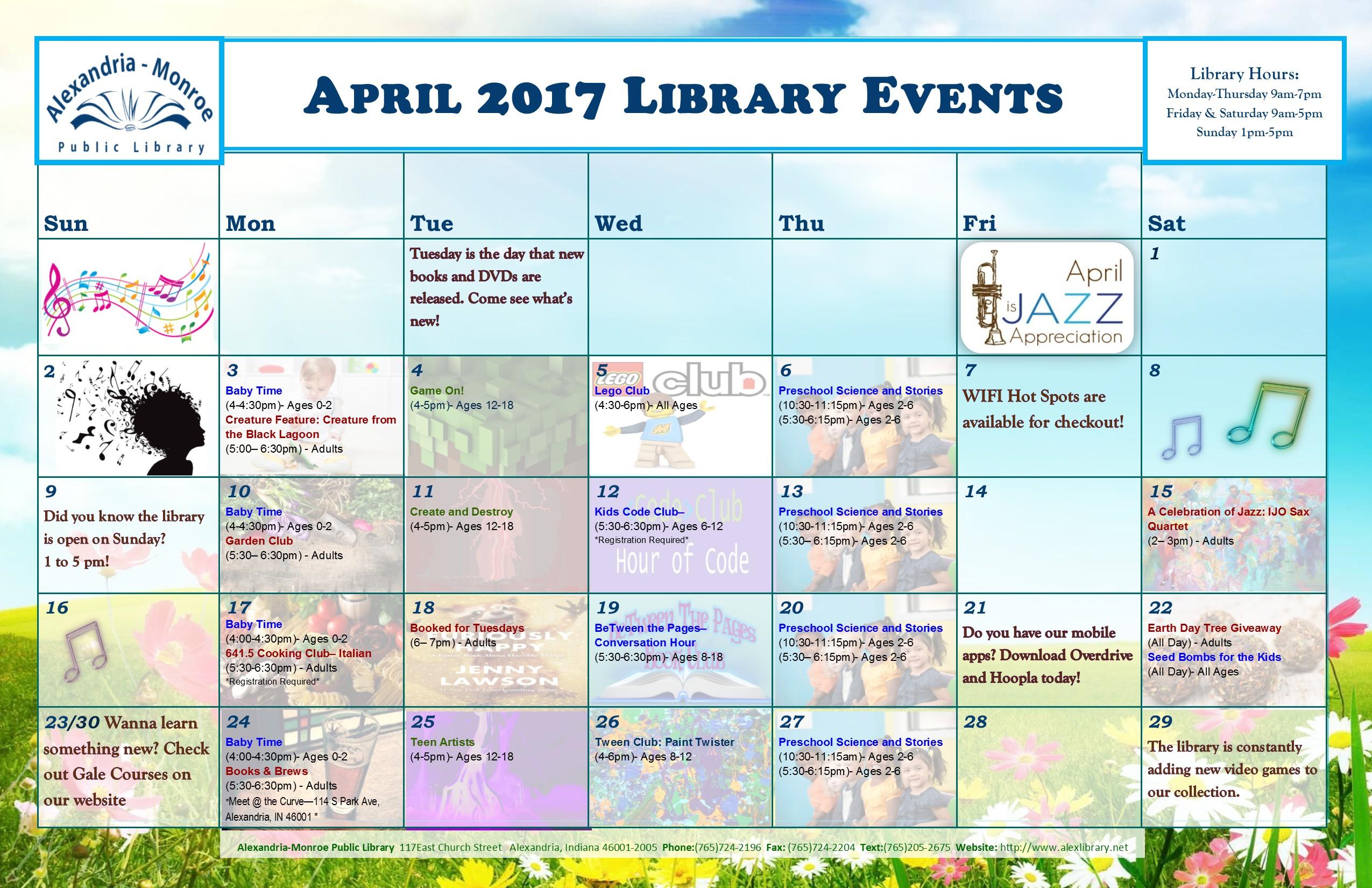 Library Event Calendar Printable – Alexandria Monroe